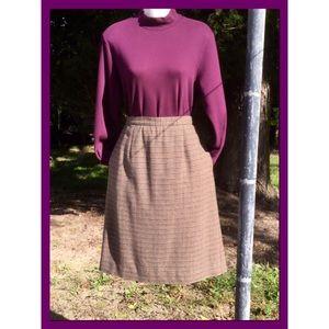 Vtg Tri-Color Houndstooth Skirt, sz 12